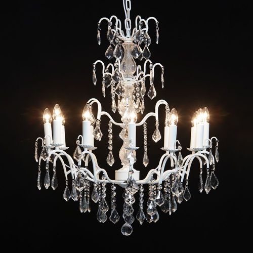 Antique French Cut Glass Crackle White Chandelier 12 arm